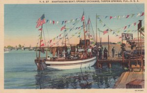 TARPON SPRINGS , Florida , 1930-40s ; Sightseeing Boat , Sponge Exchange