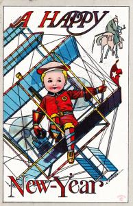 Antique Postcard, Boy in Airplane, Father Time, Happy New Year C Bunnell  B22