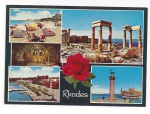 Greece Rhodes Multiview Beach Ruins Harbor Port View Vtg 4X6 Postcard