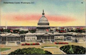 Vtg 1930s United States Capitol Washington DC Unused Linen Postcard