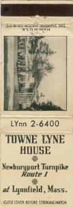 Early Lynnfield, Mass/MA Matchcover, Towne Lyne House