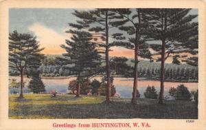 Huntington West Virginia~Scenic Look Thru Pine Trees at Ohio River~1940s Linen