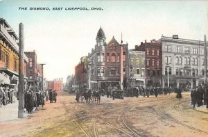 The Diamond in East Liverpool Ohio Antique Postcard L643
