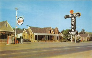 Newport Tennessee 1960s Postcard Eisenhower Motor Court ESSO Gas Station