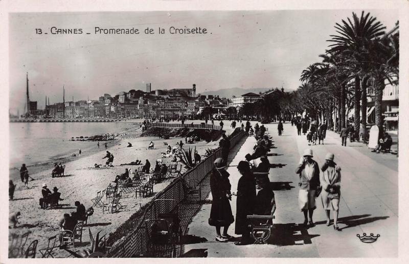 Promenade de la Croisette, Cannes, France, Early Real Photo Postcard, Unused