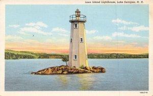 Loon Island Lighthouse Lake Sunapee New Hampshire linen postcard