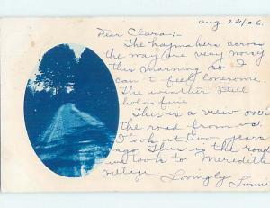 1906 rppc WRITERS SAYS - ROAD TO MEREDITH VILLAGE Lake Winnipesaukee NH HM2427