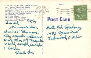 Birmingham Alabama~Large Letter Linen Postcard~Magic City Gate~Vulcan~Purple PC