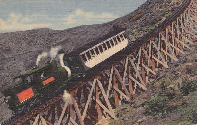 Mt Washington Cog Railway at Jacob's Ladder White Mountains New Hampshire Linen