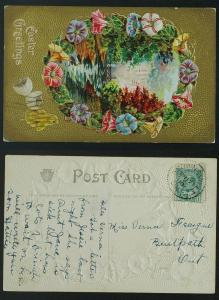 Brownsville Ont CDS on Easter postcard 1910