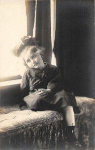 F71/ Interesting Real Photo RPPC Postcard 1918 Beauftiful Girl Bow 18