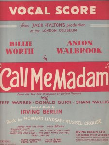 Call Me Madam London Coliseum Giant 1952 Theatre Piano Sheet Music Album