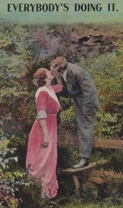 Everybody Is Making Love Kissing Doing It Antique WW1 Romance Comic Postcard