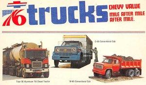 Trucks / Buses /  Vans Post Card 76 Trucks Chevrolet Unused