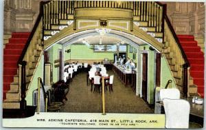 Little Rock, Arkansas Postcard MRS. ADKINS CAFETERIA 415 Main Street Linen 1940s