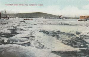 FAIRBANKS, Alaska, 1900-10s; Navigation Under Difficulties, people in rowboat