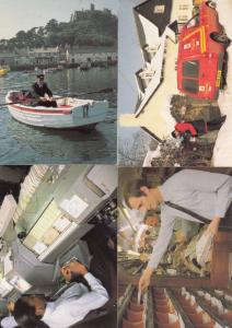 Royal Mail Postal UNUSUAL Workers In Snow Rowing Boat Switchboard 4x Postcard s
