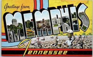 MEMPHIS Tennessee Large Letter Postcard Cotton Field Scene Kropp Linen 1940s