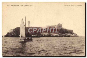 Old Postcard Marseille Le Chateau d'If boat