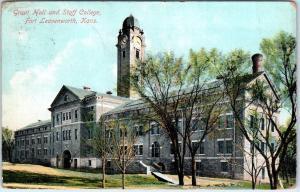 FORT LEAVENWORTH,  KS Kansas   GRANT HALL & Staff  COLLEGE  1909  Postcard