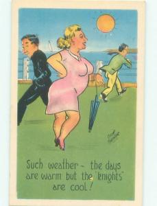 Linen-Like Risque signed FAT CHUBBY WOMAN WALKING WITH HER UMBRELLA AB6886