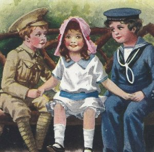 Postcard Romance How Happy Could I Be With Either Antique British Sailor Soldier