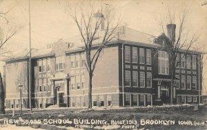 Brooklyn Iowa~$50,000 School Building~Built 1913~1914 Real Photo Postcard~RPPC