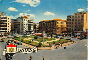 Syria Damascus Martyres Square cars postcard