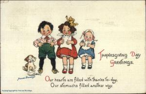 Frances Brundage Thanksgiving Children Full of Turkey c1910 Postcard #2