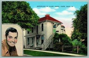 Cadiz Ohio~Actor Clark Gable Birthplace 1901~Humble Home~Photo Inset~1940s Linen