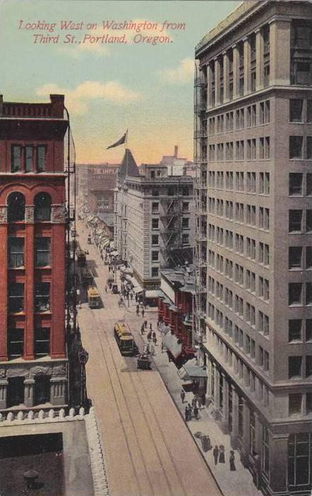 Looking West on Washington from Third St.,Portland,Oregon,00-10s