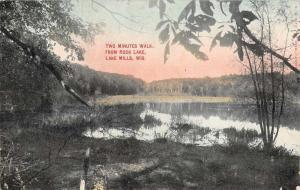 Lake Mills Wisconsin Rock Lake Waterfront Antique Postcard K65964
