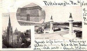Pennsylvania Pittsburgh Trinity Church Old Block House & Highland Park 1905 P...
