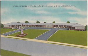 West Virginia WV Postcard 1956 PRINCETON Town-O-Tel Motor Court Roadside Linen
