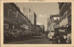 Woonsocket RI Main Street Old Cars Postcard