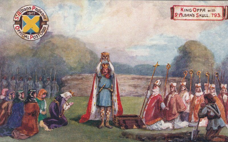 ST. ALBANS Pageant , UK , 1907 : King Offa with St. Alban's Skull : TUCK 9511