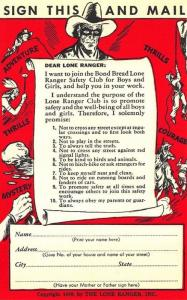 Brooklyn NY Bond Bread Lone Ranger Safety Club 1939 Postcard
