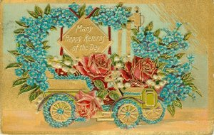 Happy Returns Congratulations Old Car Flowers Embossed Gold trimmed Postcard