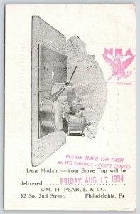 Philadelphia PeA~Wm H Pearce Co~Gas Range Stove Top~Please Have Cash~1934