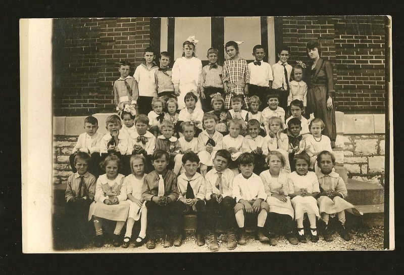 Vintage Portrait of School Students & Teacher B&W Real Photo Postcard Unposted