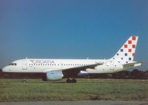 CROATIA AIRLINES, A319-112, unused Postcard