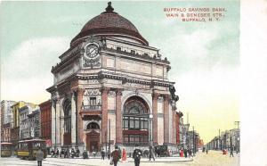 Buffalo New York~Buffalo Savings Bank @ Main & Genesee Street~Busy Street~c1910