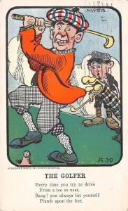 Myer~The Golfer Poem~Checkered Knickers~Caddy~Hits Own Foot from Tee~A30~1907