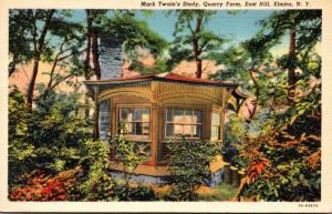 New York Elmira Quarry Farm Mark Twain's Study 1940 Curteich