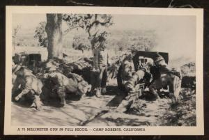 Mint Usa Army Real Picture Postcard RPPC A 75 MM Gun In Full Recoil Camp Roberts
