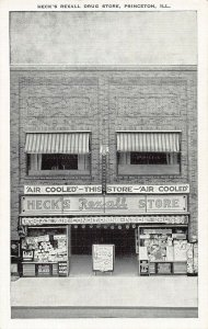 PRINCETON ILLINOIS~HECK'S REXALL STORE-SODAS-DRUGS-AIR COOLED~1950s POSTCARD