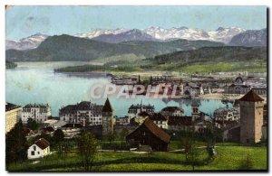 Old Postcard Luzern Und Die Alpen