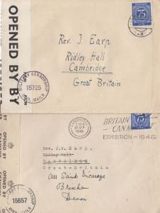 British 1946 Opened By War Censor Postmark Cambridge 2x Military Cover s