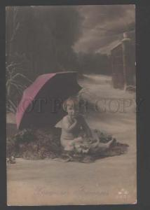 110901 Baby as Winged ANGEL w/ UMBRELLA vintage PHOTO PC