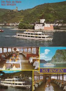 MS Bingen German Passenger Ship Interior Restaurant Postcard